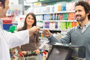 Man buying groceries