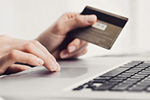 person holding credit card and using a laptop