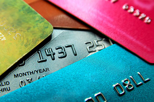 Collage of overlapping credit cards