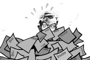 cartoon of a person buried under a pile of bills
