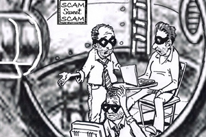 Three bad guys planning ransom demands