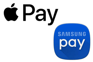 ApplePay and Samsung Pay logos
