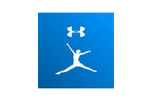 "Blue My Fitness Pal logo, white silhouette of woman performing plie under white interlock ""UA"" Under Armor logo"