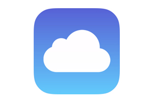 Apple iCloud logo, white cloud silhoueet on radiused corner box that ranges from dark blue at the top to lighter blue at the bottom